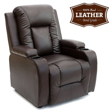 Oscar Leather Recliner with Drink Holders Armchair Sofa Chair Reclining Cinema