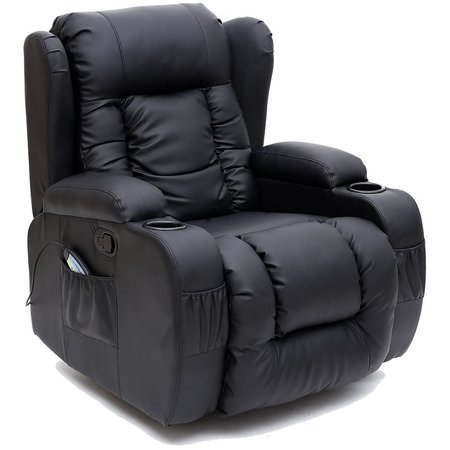 Caesar 10 in 1 Winged Leather Recliner Chair Rocking Massage Swivel Heated Gaming Armchair