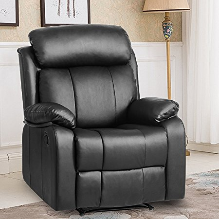 Leisure Zone ® Leather Recliner Chair Tilt Sofa Push Back Armchair Sofa for Home Lounge Gaming Cinema High-Back Chair