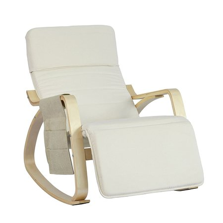 SoBuy New Comfortable Relax Rocking Chair with Footrest Design, Lounge Chair Recliner with Side Storage Bag