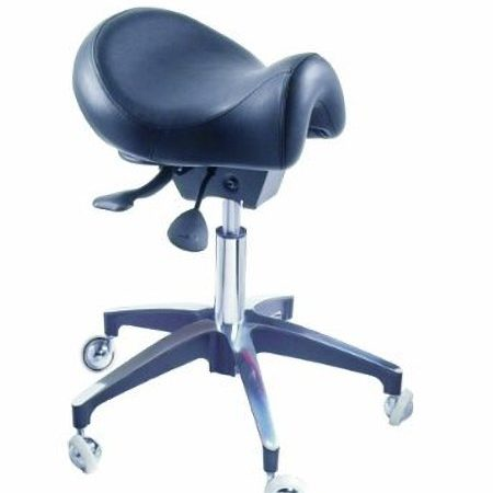 Black Premium Tilting Saddle Stool with Short Seat
