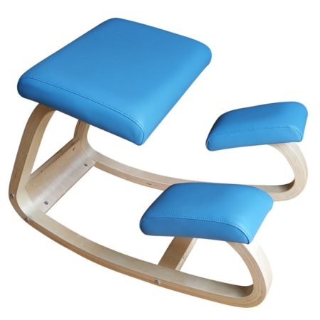 Ergonomic Kneeling Chair for Office & Computer * Promotes Better Posture * Natural Rocking Movement * Extra Thick Pads * Orthopedic Stool - Helps Ease Back Pain * Black or Blue Faux Leather