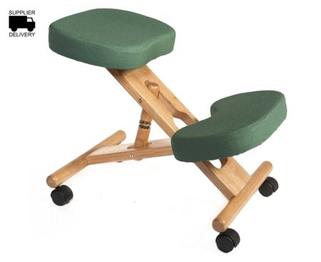 Wooden Posture Kneeling Fabric Chair Green